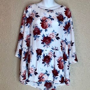 Faded Glory XXL (20) White Red Floral Blouse | A40